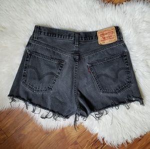 Vintage Levi's high rise black cut off shorts